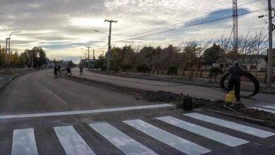 Photo of Río Gallegos, Trabajos de señalización horizontal en la Avenida San Martín.